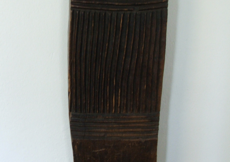 Roomdivider, used in large huts in rows, h.153 cm., On steel socle. Gurage, Ethiopia